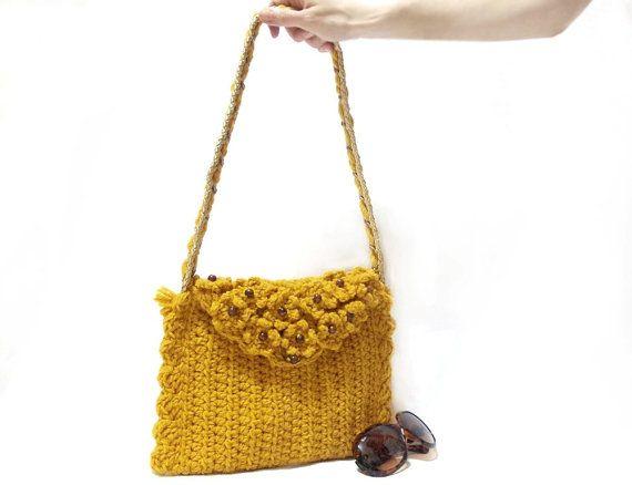 Crochet Bag, Handmade crochet handbag, Free Shipping, Mustard crochet ...