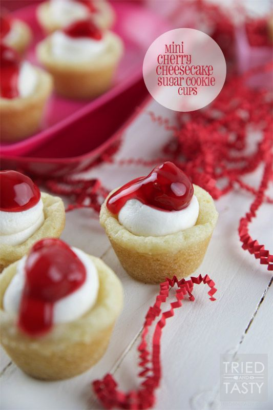 Mini Cherry Cheesecake Sugar Cookie Cups - Tried and Tasty