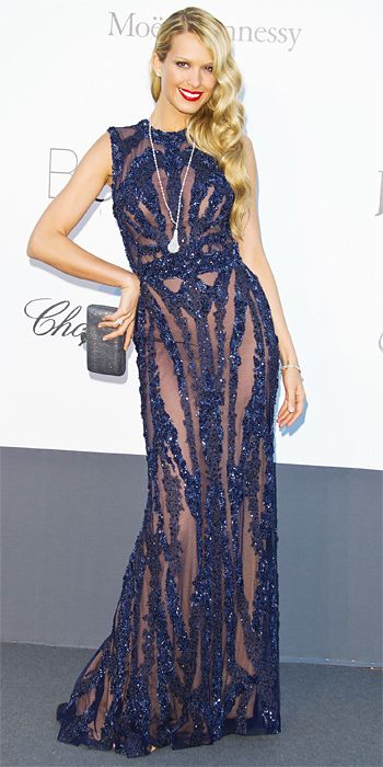 Petra Nemcova in navy Elie Saab and Chopard jewellery in Cannes 2013