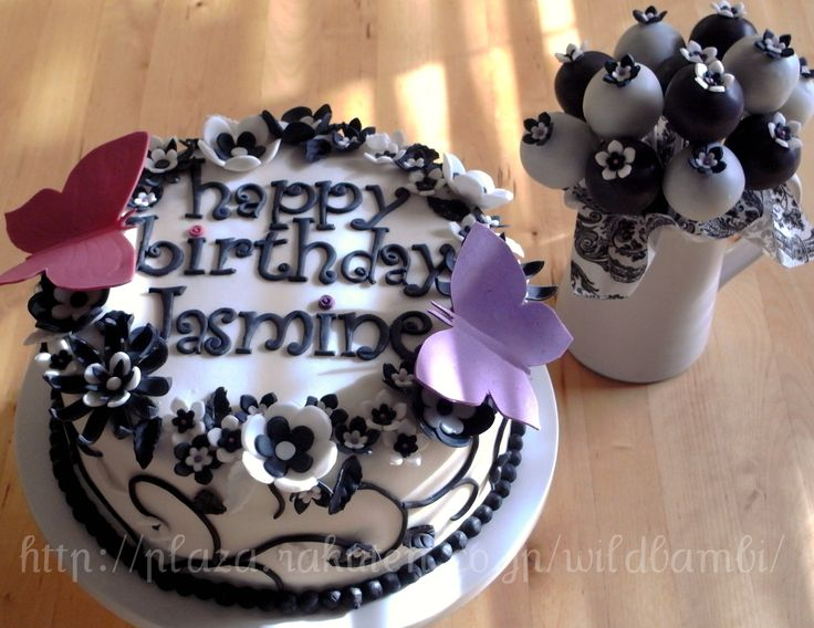 Black & White Flower Cake and Cake Pops - An 8 inch layer cake covered ...