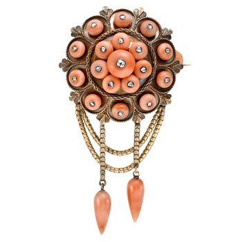Викторианской коралловых бриллиантовую брошь.