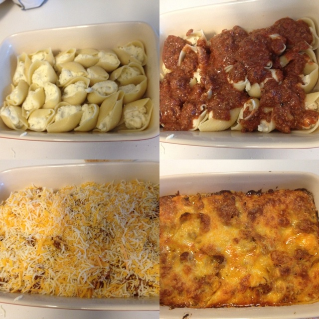 Stuffed shells with a ricotta Parmesan mozzarella blend topped with a ...