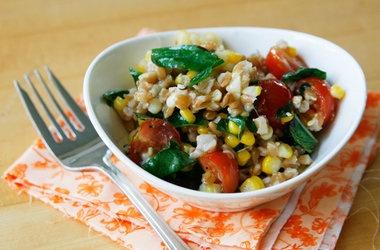 Lemony Farro Salad with Basil and Tomatoes Recipes, Click for Recipes