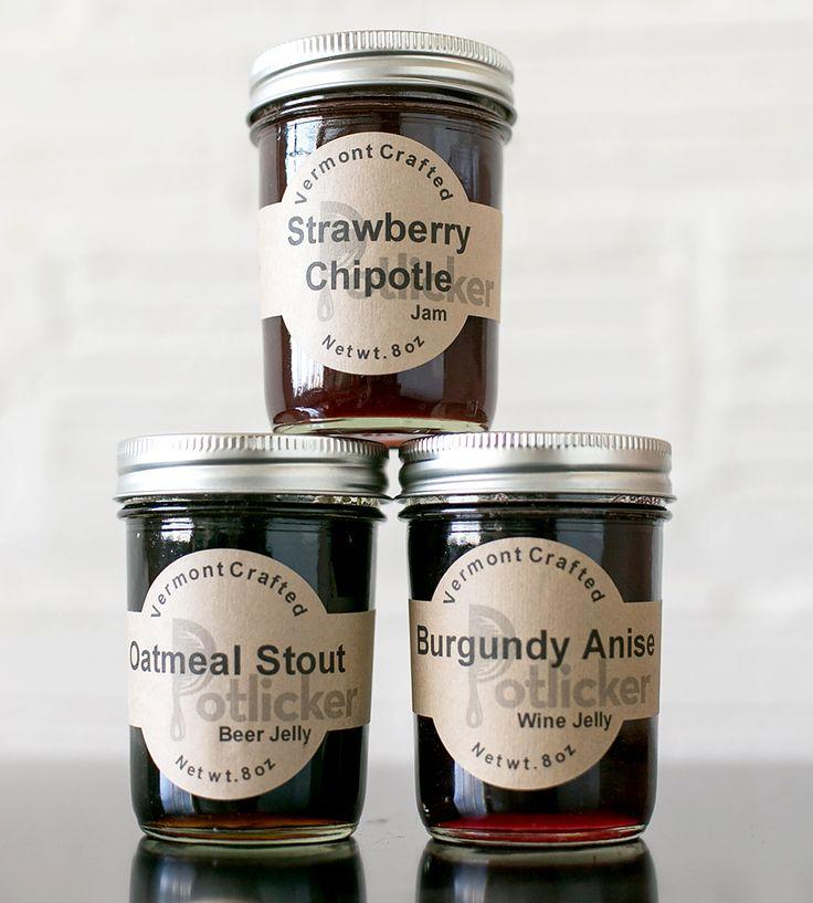 Dark Jelly Trio – Oatmeal, Strawberry Chipotle & Burgundy Anise