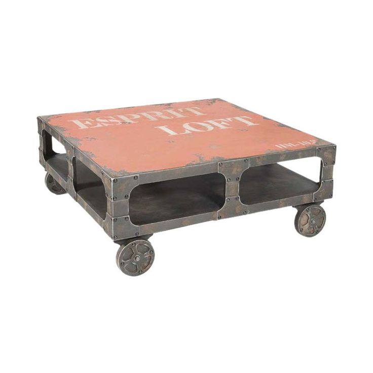 Lively Rustic Coffee Table On Casters In Orange I