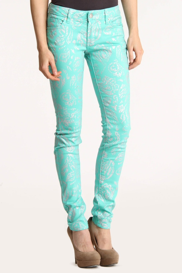 Hybrid & Co. Abstract Metallic Print Jeans In Mint