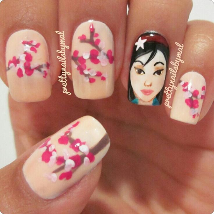 Mulan by Prettynailsbymal | Nail Art by Prettynailsbymal | Pinterest