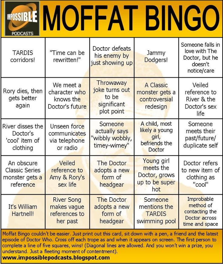 Moffat bingo. This is why Whovians are awesome.