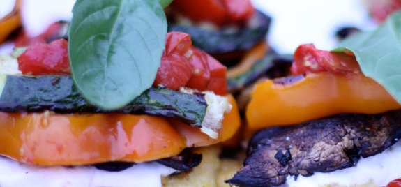 Grilled Polenta Veggie Stacks with Balsamic Cherry Tomatoes