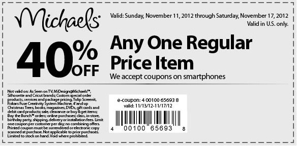 40 off michaels coupon december 2018