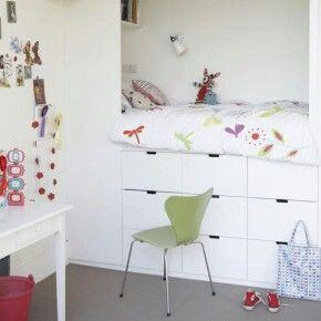Bed met opbergruimte  Kinderkamer  Pinterest
