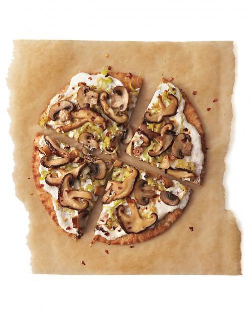 Pita Pizza: Make this seasonal pizza using two pitas, ricotta, mushrooms, and leeks, Wholeliving.com