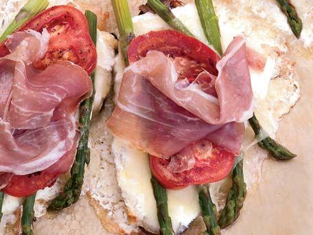 Asparagus-Cheese Tartines Recipe | Kitchen Daily