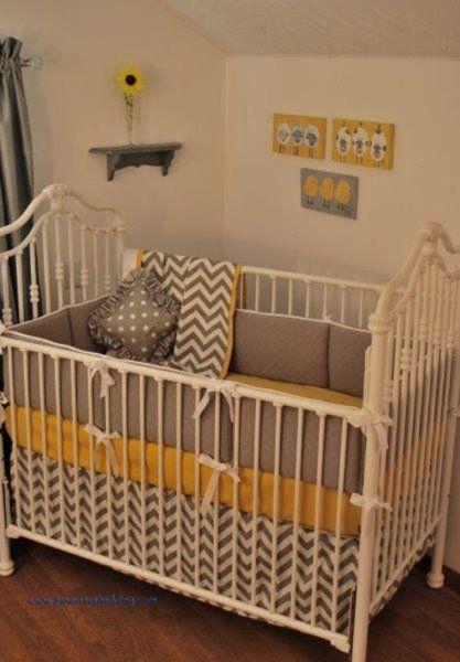 Yellow nursery bedding : Yellow and grey chevron bedding