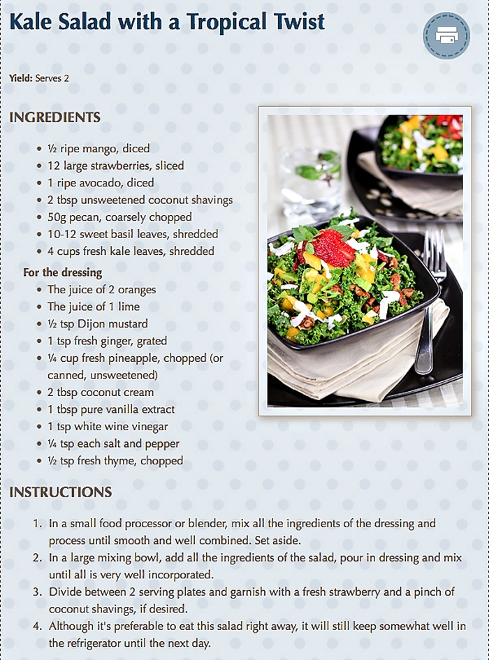 Kale Salad With A Tropical Twist Recipe — Dishmaps