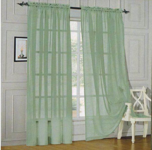 ... ROD POCKET - Window Curtain 60-inch width X 84-inch Length - Sage