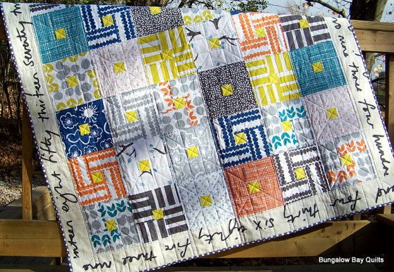 Modern Patchwork Quilt. $265.00, via Etsy. Bella fabric