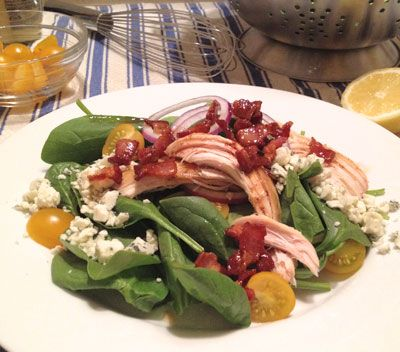 Spinach and Roast Chicken Salad with Tomatoes, Gorgonzola, and Warm ...
