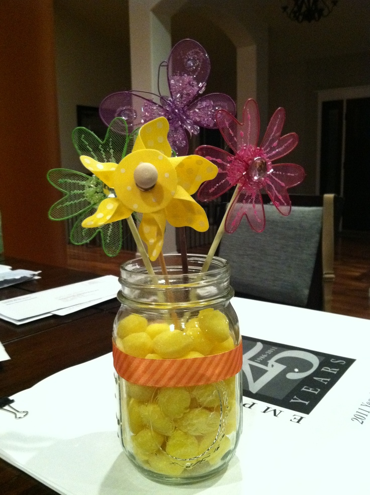 drops and spring like flowers great for a baby shower centerpiece