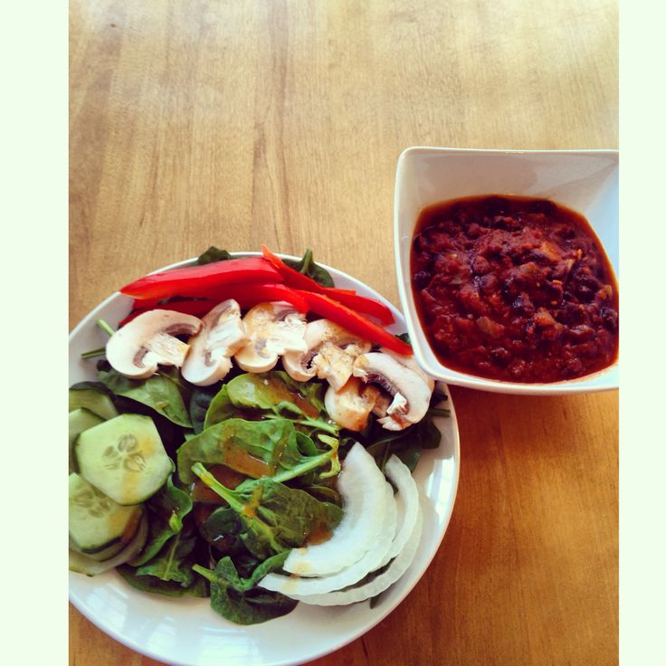 Vegetarian chili with side salad.     F00D     Pinterest