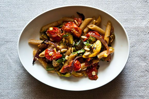 Penne With Sweet Summer Vegetables, Pine Nuts, And Herbs Recipe ...
