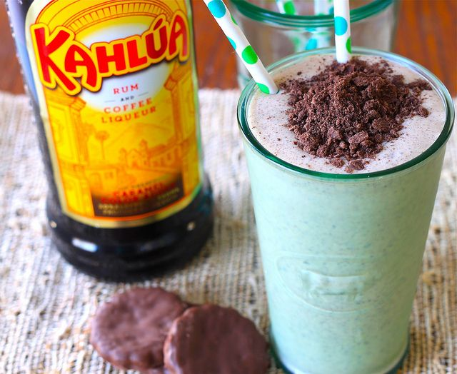 Milkshake. 1/3 c Kahlua, 2 c vanilla ice cream, 4 mint chocolate ...