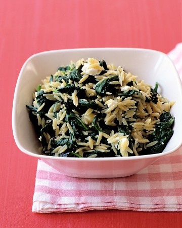 spinach with orzo and feta | Winter Foods | Pinterest