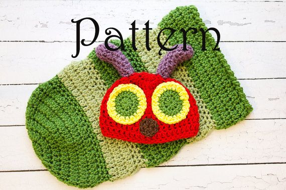 Very Hungry Caterpillar Crochet Hat Pattern Free : Crochet PATTERN - Newborn Hungry Caterpillar hat and ...