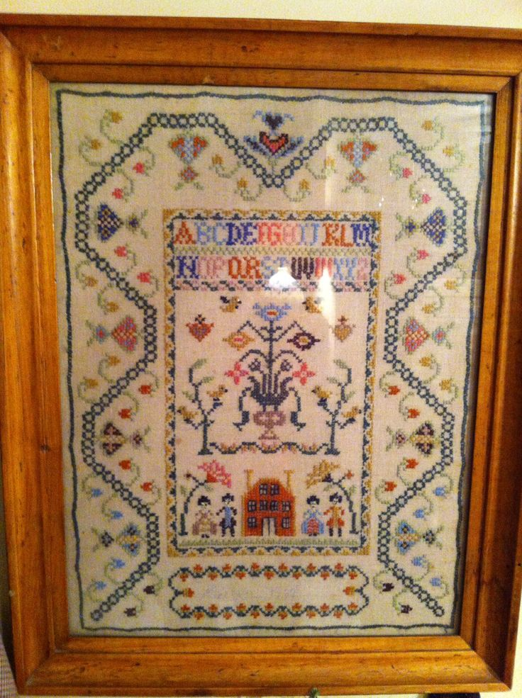 Antique sampler cross stitch counted stitching
