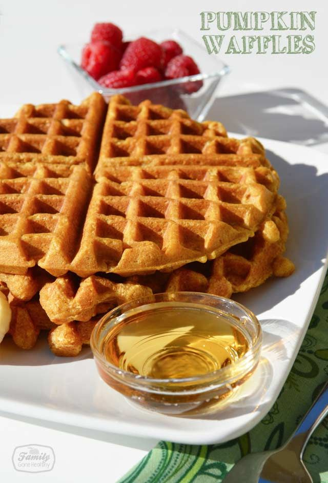 Using canned pumpkin puree, I made these pumpkin waffles for our ...