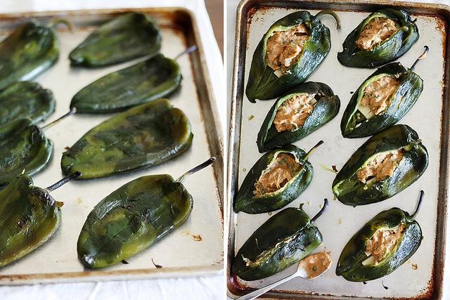 beer-battered bean + cheese stuffed poblano chiles