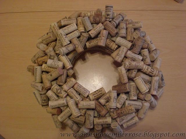 DIY wine cork wreath....using non cork corks for the base