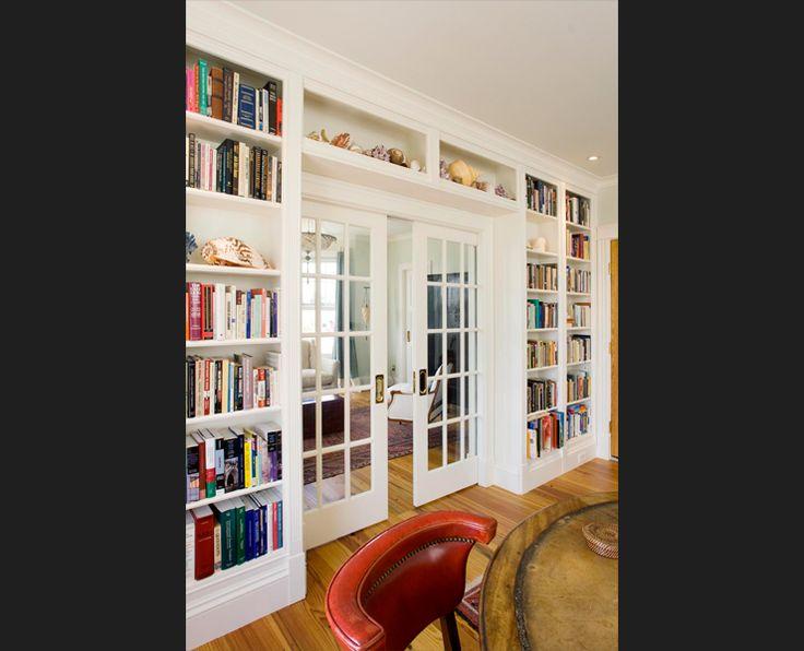 Excellent Builtin White Bookcaseshelves Around Doorway French Doors Black