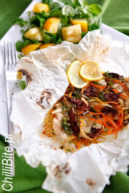 Fish baked in parchment | Seafood | Pinterest