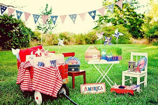 all american backyard picnic style shoot