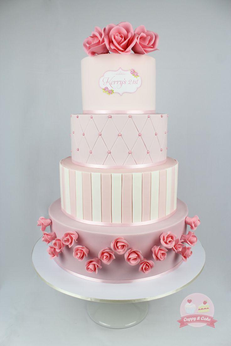 Birthday Cake Pictures Pink : Pink 21st Birthday Cake Bridal Pinterest