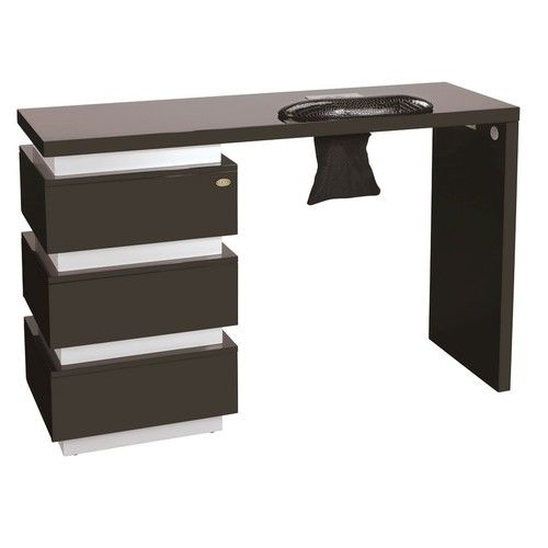 Vented manicure station beauty nail table with 3 drawers for Beauty salon manicure tables