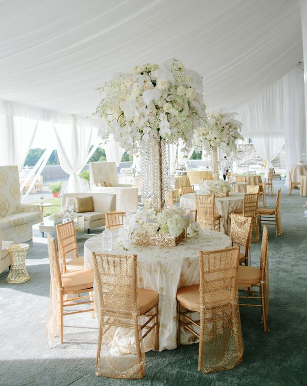 White And Gold White And Gold Wedding Reception Ideas