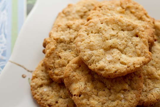 Crisp Salted Oatmeal White Chocolate Cookies by PoetInThePantry, via ...