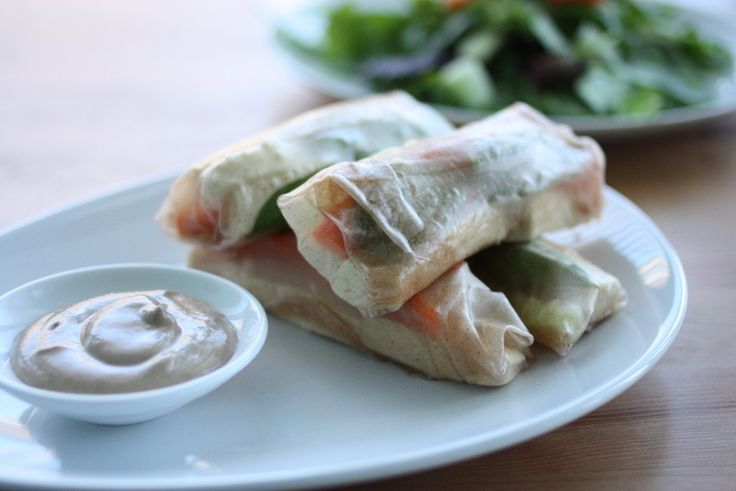 Easy Brown Rice Summer Rolls with Almond Sesame Dressing