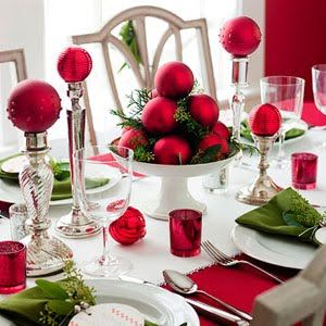 Christmas Table decor!!! Bebe'!!! Love this centerpiece featuring frosted red ornaments on candlesticks and in a bowl as a centerpiece!!!