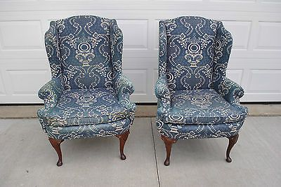 Pair of queen anne wingback chairs in denim and cream floral