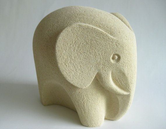 Mid Century Modern Sand Stone Elephant Figurine Made by ...