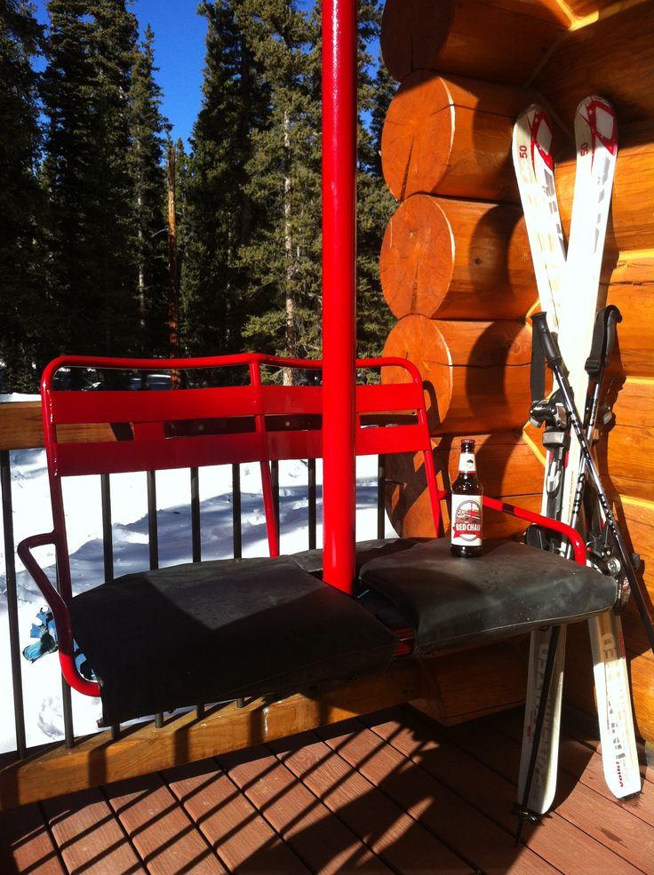 Ski lift chair bench use an old ski lift chair