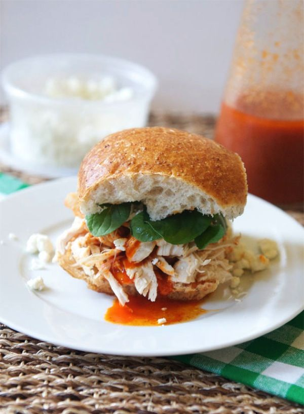 Slow Cooker Buffalo Chicken Sandwich-The Almond Eater