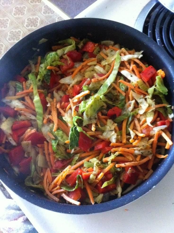 Stir fry take 2: 1 cup cabbage 1 red pepper 1cup shredded carrots 1 ...
