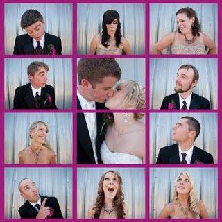 Brady bunch photo with the bridal party this is adorable !