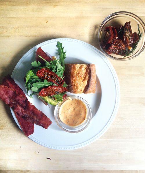 ... Siracha garlic mayo, turkey bacon, slow roasted tomatoes, and avocado