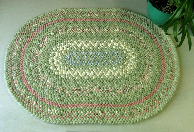 Braided Rug Hand Made Green Cream And Pink