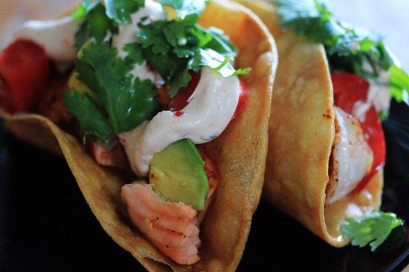 Crunchy Shrimp & Salmon Tacos | Nom Nom | Pinterest
